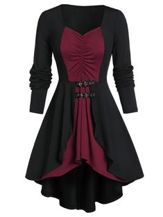 They are beautiful, lovable and affordable. You deserve it! plus size outfits Plus Size Contrast Tunic Lace Up Sweetheart Collar T Shirt Dresses For Teens, Modest Dresses, Fall Dresses, Cute Dresses, Casual Dresses, Dresses For Work, Summer Dresses, Woman Dresses, Wedding Dresses
