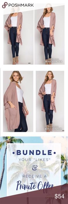 Just In❣️New Mocha Open Cardican With Pockets SM New elegant mocha front pocket waterfall wrap. Long sleeve midi open knit cardigan. spring•summer•outerwear  Size•Small/median  60% cotton 40% rayon She & Sky Jackets & Coats Capes