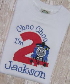 Thomas The Train Birthday Shirt Applique Embroidery by momof5hs63, $28.00