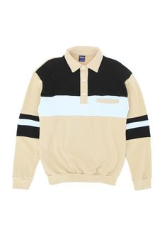 The Summer Polo Lighter weight cotton fleece polo Cut and sewn color blocking Button closure placket Single welt pocket on left chest Fit is true to size, get your normal size Clothes Encounters, Black Khakis, Cotton Fleece, Welt Pocket, Color Blocking, Polo, Summer, Jackets, Blue