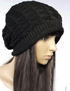 3dc67b3616c Slouchy knitted hat in Black Scarf Hat