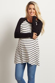 The perfect maternity top to lounge in on those cooler days. A classic striped print with a colorblock sleeve for a casually chic piece you can wear day in and day out. Style this top with maternity jeans and flats for a feminine ensemble.