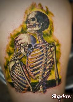 """Art by: Chris Peters """"To hold you again"""" Tattoo by: Ra Diaz Find him at: Miss Heidi's Tattoo 5008 Edgewater Dr. Skeleton Couple Tattoo, Couple Tattoos, Skull Tattoos, S Tattoo, After Life, Pentacle, Body Mods, Tattoo Inspiration, Tatting"""