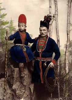 Neijla and his father Mattias Årén from Frosteviken, Lapland, Sweden. Fotograf- Hélène Edlund, 1870-1898  via