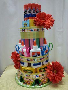 Teacher supply cake I made :) - jessica nielsen Teacher Supply Cake, Teacher Supplies, Teacher Appreciation, Teacher Gifts, Craft Ideas, Diy Crafts, Decorations, Teaching, School