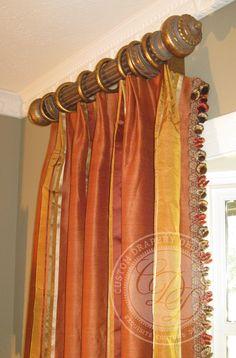 Parisian pleat via Custom Drapery Designs, LLC. Types Of Curtains, Curtains With Blinds, Custom Window Treatments, Wall Treatments, Drapery Designs, Drapery Ideas, Curtain Ideas, House Blinds, Beautiful Curtains