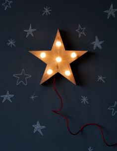 a dark blue chalk wall and mounted star light. great idea for the nursery