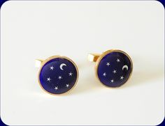 "c1940s Star & Moon CUFFLINKS  \""The Nigh Sky\""  - Men's RETRO Fashion  #Rubylanehttp://www.rubylane.com/item/939301-412/c1940s-Star-Moon-CUFFLINKS-Nigh"
