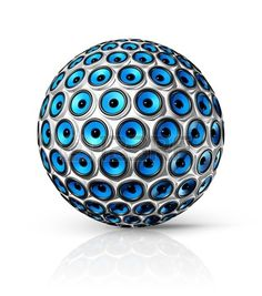 three dimensional blue speakers sphere isolated on white