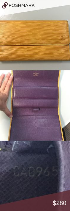 Authentic Louis Vuitton wallet Yellow Louis Vuitton wallet. Purple interior. Signs of wear through out but in good condition. No smells. 100% authentic. Louis Vuitton Bags Wallets