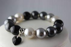 Mystic Monochrome Bracelet, handmade and available on www.crystalandvanilla.co.uk