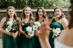 How gorgeous is this green bridal party! We are in love with this beautiful shade of green for a springtime wedding! Satin bridesmaid dresses create a modern bridal party you'll love! | #greenbridesmaiddresses #bridesmaiddresses #emeraldgreenbridesmaiddresses | Style F20099, F20098, DS270091, F20095 in Juniper, WG3880 | Shop these styles and more at davidsbridal.com! | Photo by: @glenaigilbertphoto Emerald Green Bridesmaid Dresses, Rustic Wedding Inspiration, Davids Bridal, Shades Of Green, Bridal Style, Green Colors, Bridesmaids, Wedding Dresses, Beauty