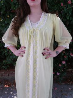Vintage 60's Yellow Spring Chiffon Robe Mad by sailorpinkvintage, $42.00