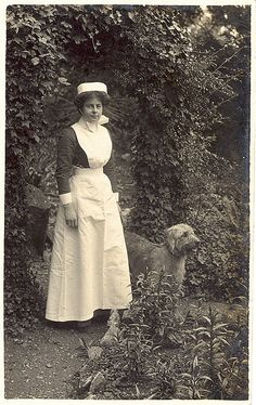 WWI British Nurse and Small Irish Wolfhound (?) by sunnybrook100, via Flickr