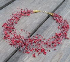 Red coral necklace Beaded seed bead jewelry Cherry red by ensaga