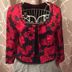 Floral blazer Too cute red and black rose patterned jacket. Perfect for work this spring. Changes by together Jackets & Coats Blazers