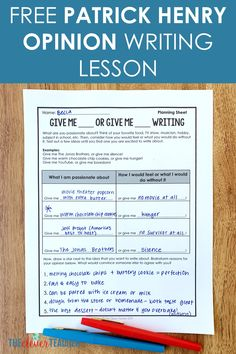 Patrick Henry Opinion Writing Lesson (Free) - This FREE Declaration of Independence Patrick Henry Opinion Writing Activity makes a fun addition t - History Lessons For Kids, Teaching Us History, World History Classroom, American History Lessons, History Projects, History Education, 7th Grade Social Studies, Social Studies Notebook, Teaching Social Studies
