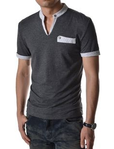 (DK33) TheLees Mens Casual Slim Fit Stripe Patched Collar Point Short Sleeve Tshirts CHARCOAL Medium(US Small) TheLees http://www.amazon.com/dp/B00DZJ9A5E/ref=cm_sw_r_pi_dp_kbEsub02JHMRR