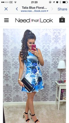 Blue flower skater dress