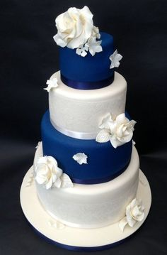 Pure White and  Navy ~  Lace & Roses Wedding Cake