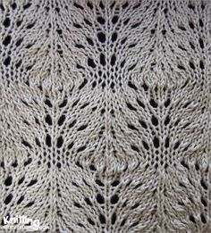Swirling stitch  | Lace pattern is not so difficult to knit and easy to remember  |   knittingstitchpatterns.com