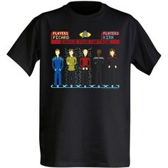 Choose-Your-Captain-t-shirt We all have our favorite Star Trek Captain? No matter who your favorite Captain is, they are all represented here on this Choose Your Captain T-Shirt. Do you like Kirk? Picard? Benjamin Sisko? Maybe Archer is your favorite or Janeway? Doesn't matter. They are all here together. And they are all great in their own way anyway. This black, 100% cotton crew tee has a great pixel art design. This awesome shirt is $19.99 – $21.99 from