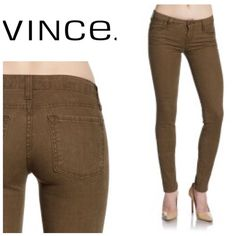 "Vince skinny jeans - cocoa Size 27. Waist measures 15.5"" across . These do have stretch to them for a great fit . Inseam 30"" will bundle for 10% off . Color - cocoa Vince Jeans Skinny"
