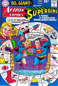 thebristolboard: Classic cover by Curt Swan (pencils) and George Klein (inks) from Action Comics published by DC Comics, March Marvel Dc Comics, Old Comics, Vintage Comics, Vintage Books, Supergirl Comic, Superman Comic, Superman Stuff, Superman Logo, Batman