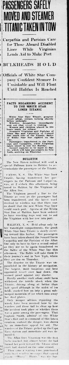 Inaccurate report of Titanic accident that appeared in the Christian Science Monitor, Boston, MA, April 15, 1912