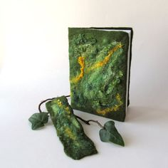 Felted journal notebook cover  Green moss spring  gift by galafilc, $24.00
