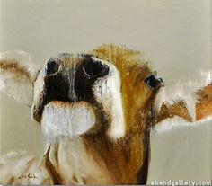 Burt by Elsa Sroka Oil Cow Painting, Cow Art, Animal Paintings, Oil Paintings, Woodland Creatures, Portraits, Illustrations, Farm Animals, Pet Birds