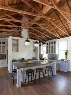 truss ceiling kitchen transitional with island lighting midcentury pendant lights
