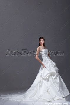 1st-dress.com Offers High Quality Simple White Satin 2015 Bridal Gown with Train,Priced At Only US$245.00 (Free Shipping)