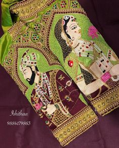 Beautiful parrot green color designer blouse with bride and groom design and embroidery work on sleeves. Wedding Saree Blouse Designs, Fancy Blouse Designs, Hand Work Embroidery, Aari Embroidery, Hand Work Blouse Design, Hand Designs, Saree Tassels, Maggam Works, Lehnga Dress