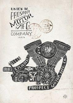 Hand lettering Engine Block by BMD Design, via Behance
