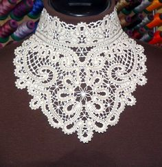 Advanced Embroidery Designs. Battenberg lace choker collar forembroidery machines. Instructions on how to embroider and assemble.