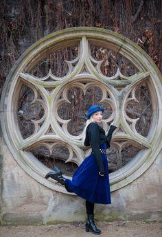 Gala Darling in Paris blues #galadarling #blue #velvet #dress