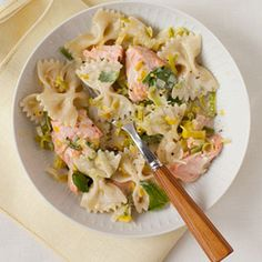Rethink how you serve salmon with this unique pasta that's loaded with flavor, combining chunks of fish with farfalle, sautéed leeks and lemon zest.