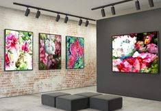 Spring 4 sets - canvas print with floating frame - 70 x 130 cm, 110 x 150 cm Large Canvas Art, Floating Frame, Spring Flowers, Packaging Design, Gallery Wall, Canvas Prints, Shapes, Artwork, Color