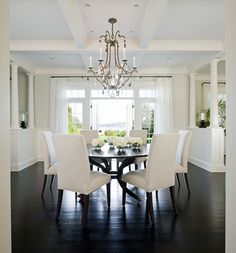 LOVE the dark hardwood floors!   It looks fabulous with all the white.
