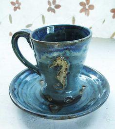 Sea Horse Mug/ plate set  Wheel throwncone 5 by rikablue on Etsy, $26.00