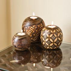 Kayu Batik Candle Holders