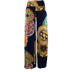 Blue Colorful Bohemian Print Wide Leg Palazzo Pants ($25) ❤ liked on Polyvore featuring pants, bottoms, wide leg print pants, pull on pants, wide-leg trousers, boho pants and cropped palazzo pants