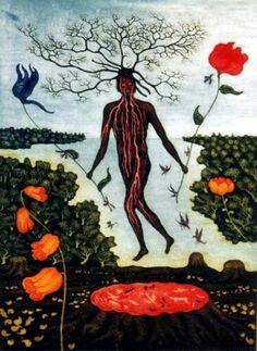 "Arik Brauer - ""Die Baumseele"" (the soul of the tree) Rudolf Hausner, Landscape Architecture, Printmaking, Street Art, Art Pieces, Weird, Art Gallery, Artists, Fantasy"