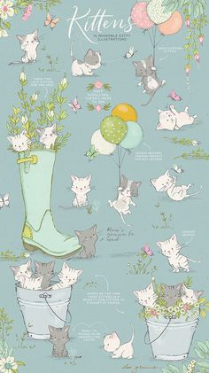 Bursting with spring cuteness, this cute spring kitten clipart bundle will add warmth and joy to your next creative project.