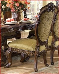 AICO Dining Side Chair Chateau Beauvais AI-75003 (Set of 2) by AICO. $938.00. AICO Dining Set Chateau Beauvais. The influence of French Rococo design comes to life with the signature pierced carvings, intricate inlaid marquetry, bombe shaping, and a duo tone finish called Noble Bark. Rococo furniture took on a role of comfort and versatility, and Chateau Beauvais®; follows the example. As well, each piece has been carefully designed for maximum comfort. The upholstery featu...