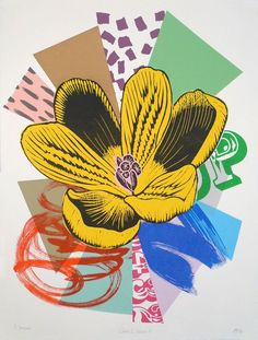 """""""Crocus 3 - Series 1"""" by Kate Heiss. Monoprint on Paper, Subject: Flowers and plants, Graphic, illustrative and typographic style, One of a kind artwork, Signed on the front, This artwork is sold unframed, Size: 56 x 75 x 0.1 cm (unframed), 22.05 x 29.53 x 0.04 in (unframed), Materials: Acrylic based screen inks on 300gsm Somerset paper"""