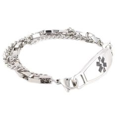 The Trip Stainless Steel medical ID bracelet represents a box chain link and two curb links.  This medical bracelet is sure to please your trendier side.