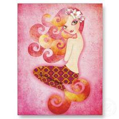 Coraleen, Mermaid in Pink postcard postcard