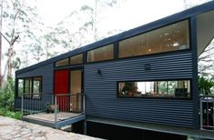 Everything: Slant Roof Lots of Glass Metal Siding Simple Construction. Metal Building Kits, Metal Building Homes, Metal Homes, Building A House, Steel Frame House, Steel House, Steel Framing, Pole House, House Cladding